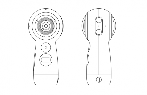 In addition to improved grip, the handle also houses the battery and SD card so the dual-lens sphere can be smaller and potentially reduce parallax issues.