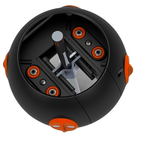 Hear360's 8ball spatial microphone can be clamped around a tripod below any 360 camera to gather spatial audio.