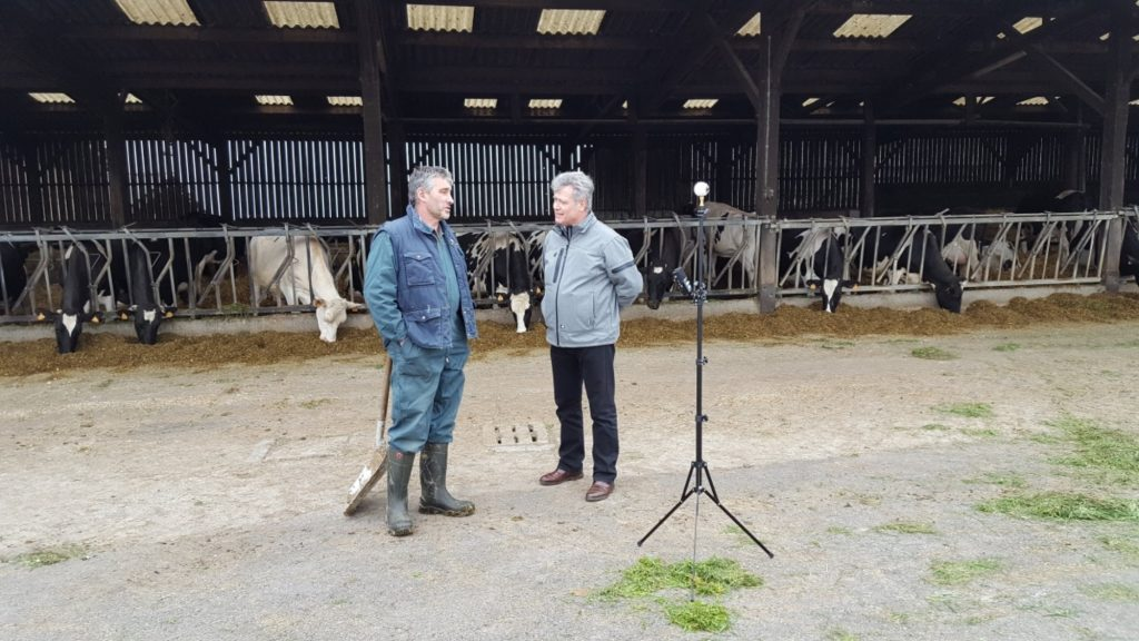 Journalist André Thomas (for Ouest France) and farmer Loïc Guines chat on camera in French Brittany for the series. Photo credit: Olivier Peguy