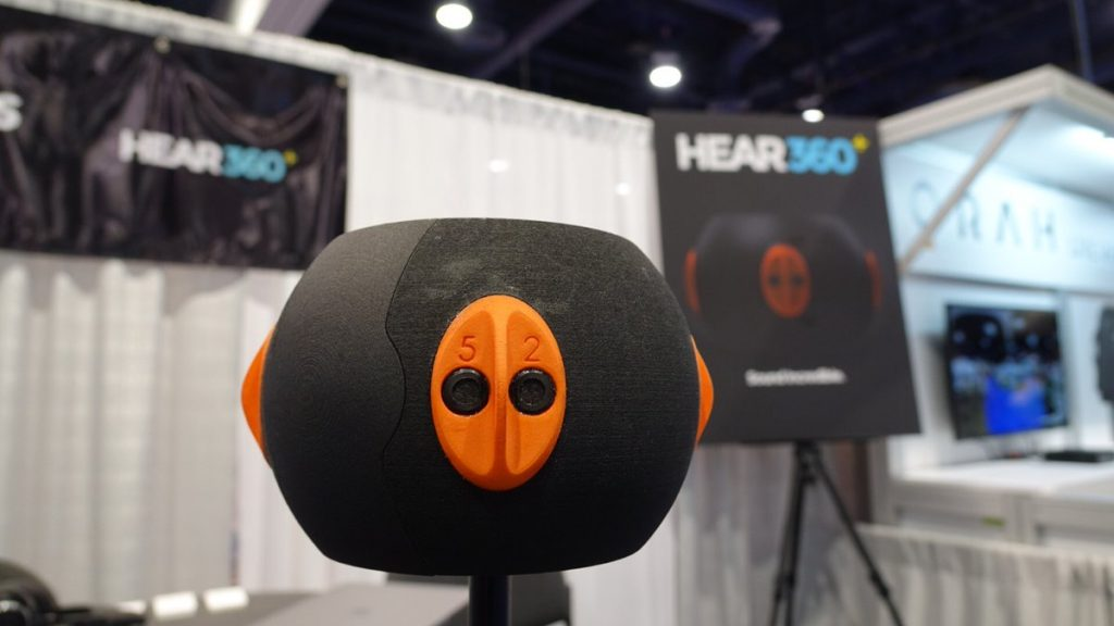 Hear360's 8ball spatial microphone features 8 capsules organized to mimic the alignment of four pairs of ears.