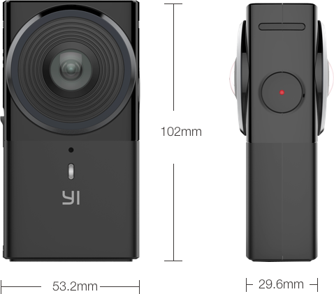Announced at NAB 2017, the YI 360 VR camera is slightly larger than a deck of cards.
