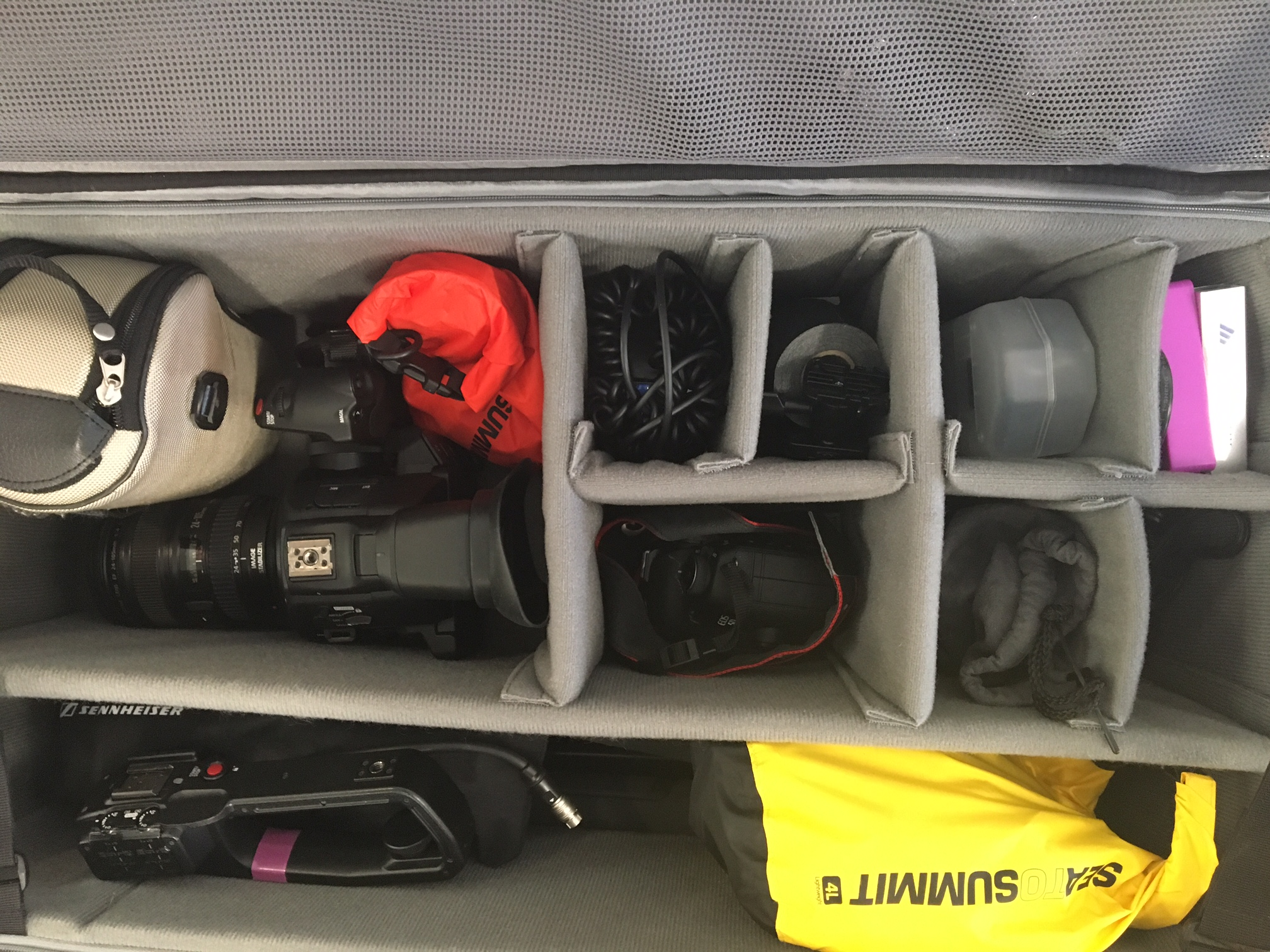 For 360 video production, Brittany likes to keep it simple, using the same tripod she uses for fixed frame video, and a small kit of Keymission accessories. Here's a glimpse of her gear bag.