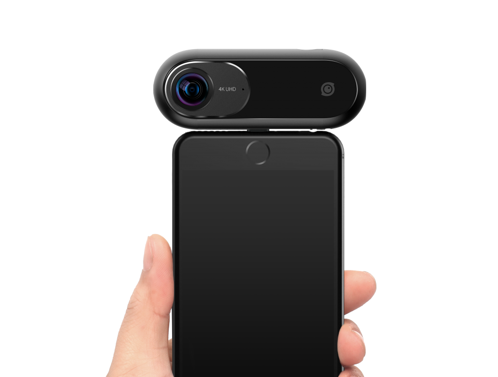Insta360 ONE camera can be used independently or connected to a smartphone. An adapter for Android use is scheduled to be released in October.