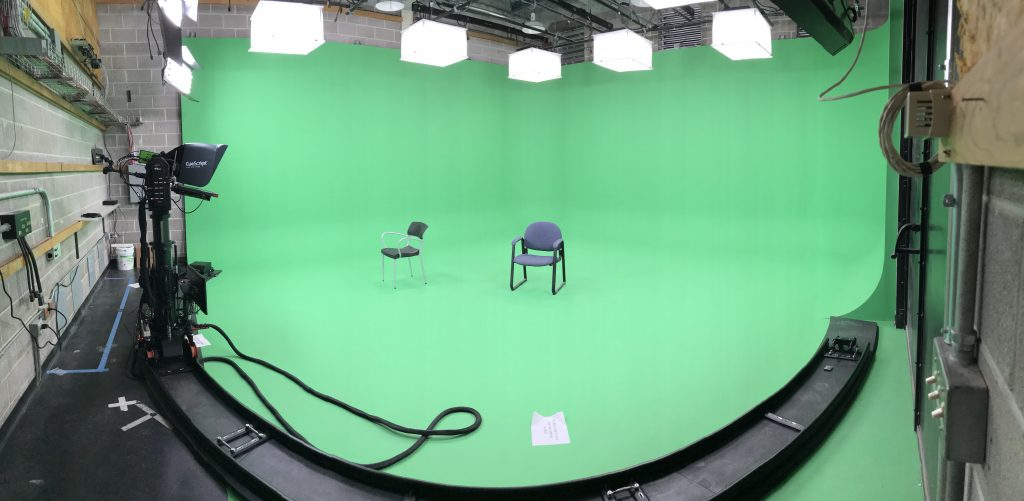 "This is what the studio looks like without a 360 video ""sphere"" encircling the on-camera talent. The idea behind finding a way to broadcast 360 videos was to encourage newsroom teams to produce more 360 content, knowing it would still benefit the main broadcast."