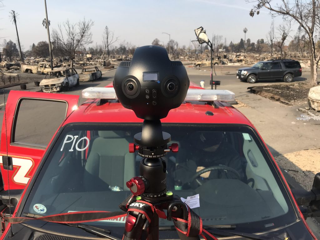 Lozano used the Insta360 Pro for E.W. Scripps' coverage of the California wildfires, which it also broadcast on TV with its new 360 video studio.