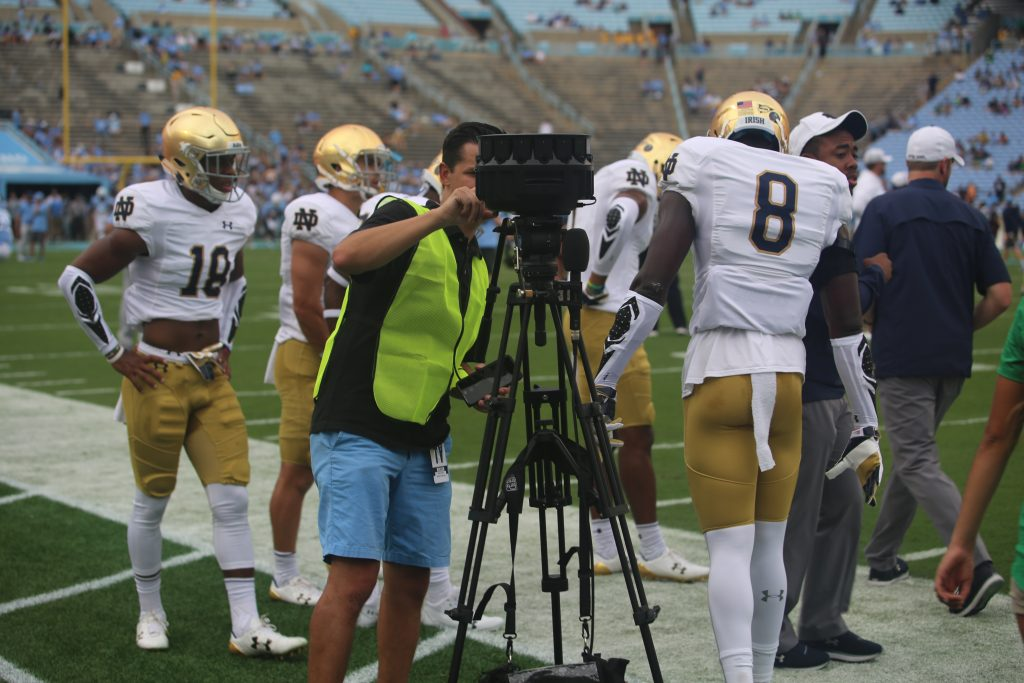 Jason Cooper is able to shoot the Notre Dame/UNC football game solo with the YI Halo.