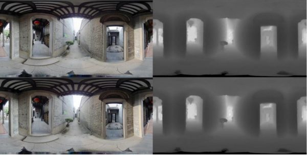 An example color image (left) and a corresponding depthmap (right) Automatically generated by Kandao studio