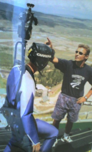 """(2001) """"This was the second ever 360 video (for Chevrolet) that was promoted during the 2002 Olympics inn Salt Lake City. It is a film camera with a parabolic lens. We need something light weight (still was about 25lbs.!), could run off cam battery and which we could mount the lens. The shoot took place on the actually ski jump used for the Olympics (they cover with snow and ice for the games). We owned the only camera that could be used, so a fall would have killed the project.""""--Lance"""