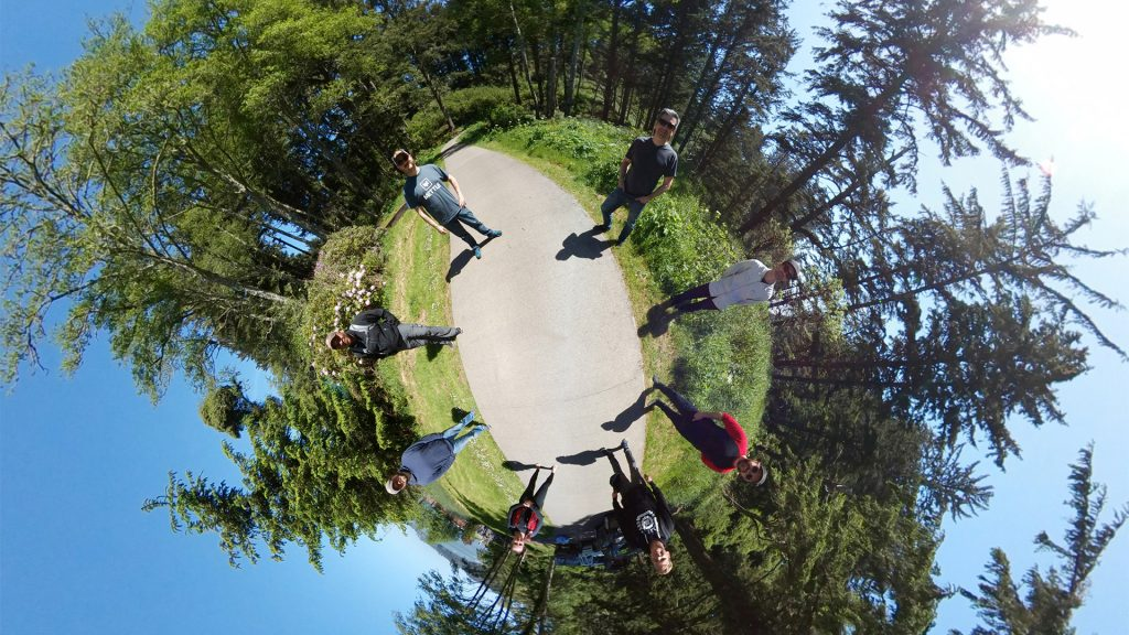 The crew poses for a quick 360 after a successful wrap of USCG shoots at Cape Disappointment.