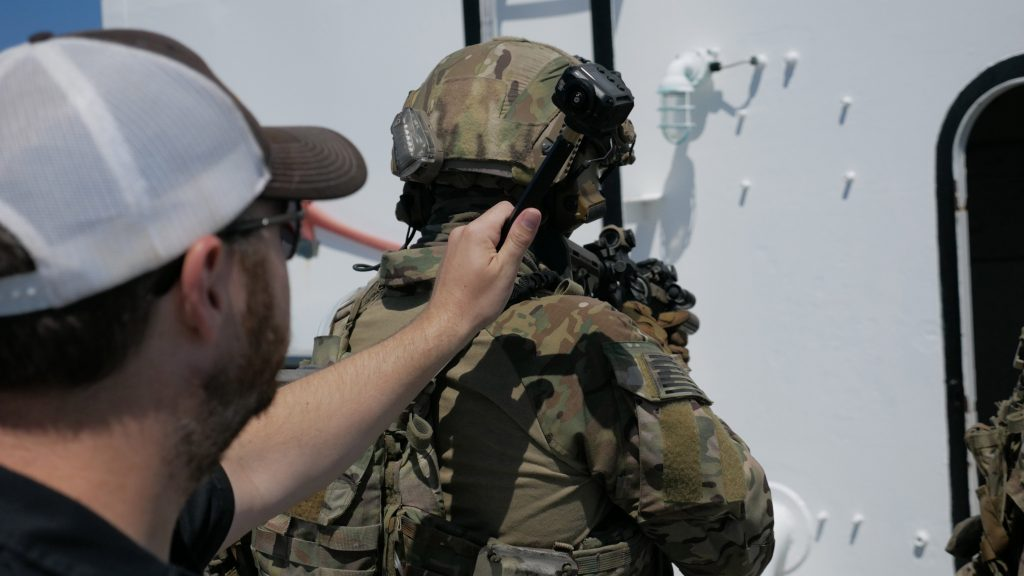 Matt Rowell checks the sight line on the shoulder mounted Garmin VIRB 360, , used in the latter videos in the series.