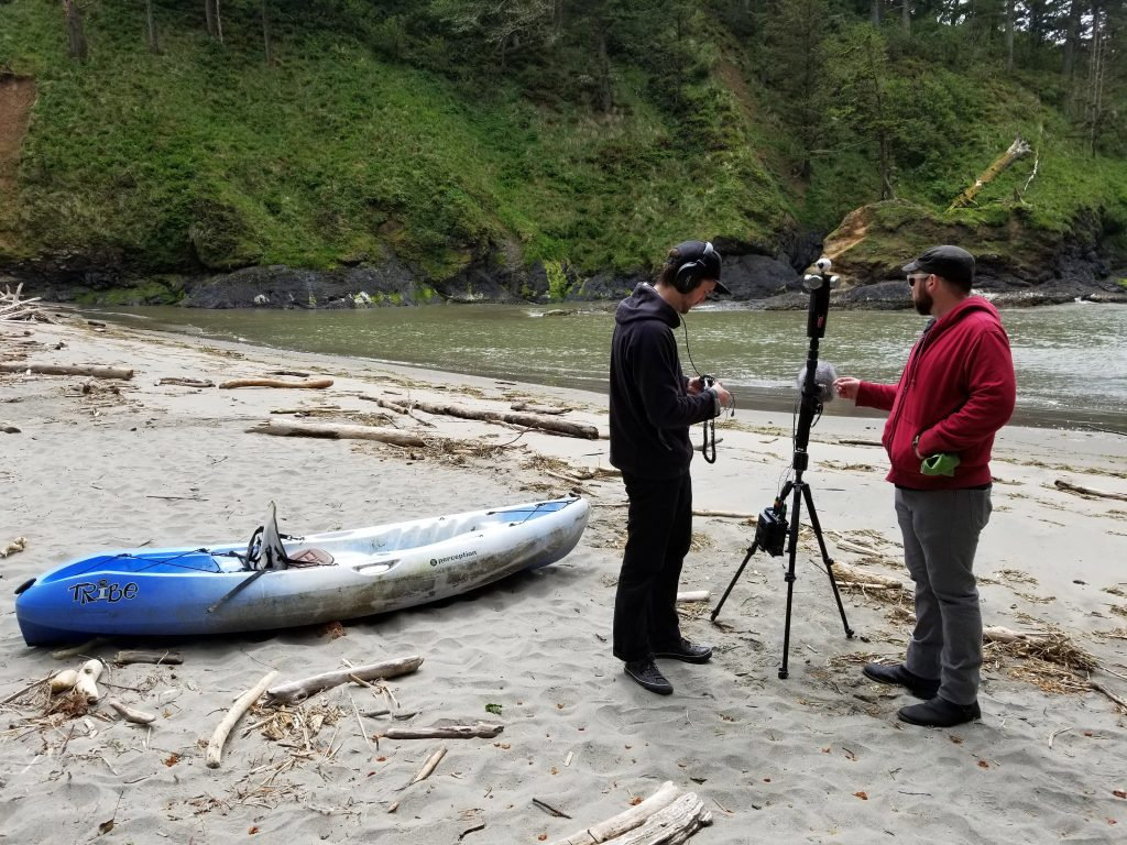 Corey Crawford (left) and Brad Gill (right) checking audio levels at Dead Man's Cove at Cape Disappointment.