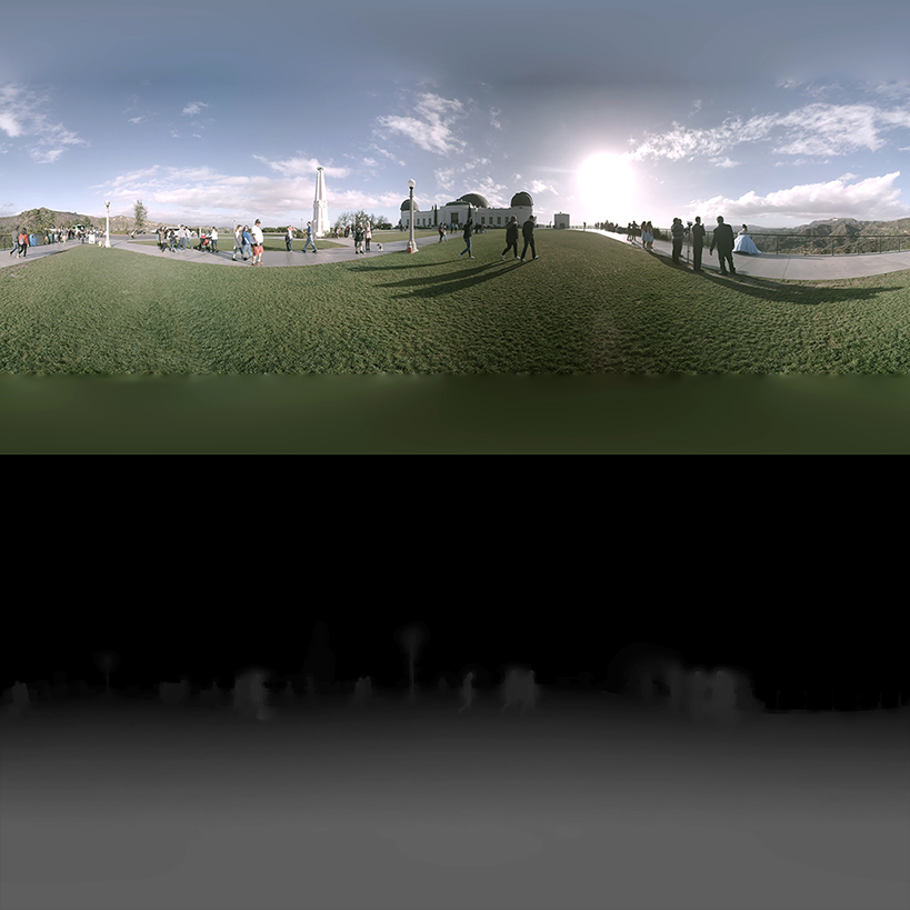 A 6DoF image with equirectangular color image on top and depth map on bottom.