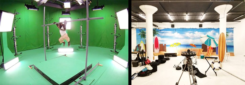 Left: Microsoft Mixed Reality Capture is an outside-in 6DoF capture solution that requires numerous cameras in many positions. Right: A Google Jump camera on the set of our music video. It captures video from a single camera position.