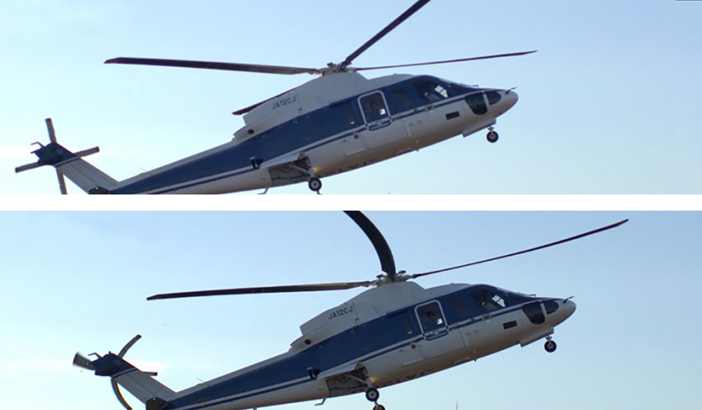 Comparison: global shutter (top) versus rolling shutter (bottom). Image courtesy of Radiant Images.
