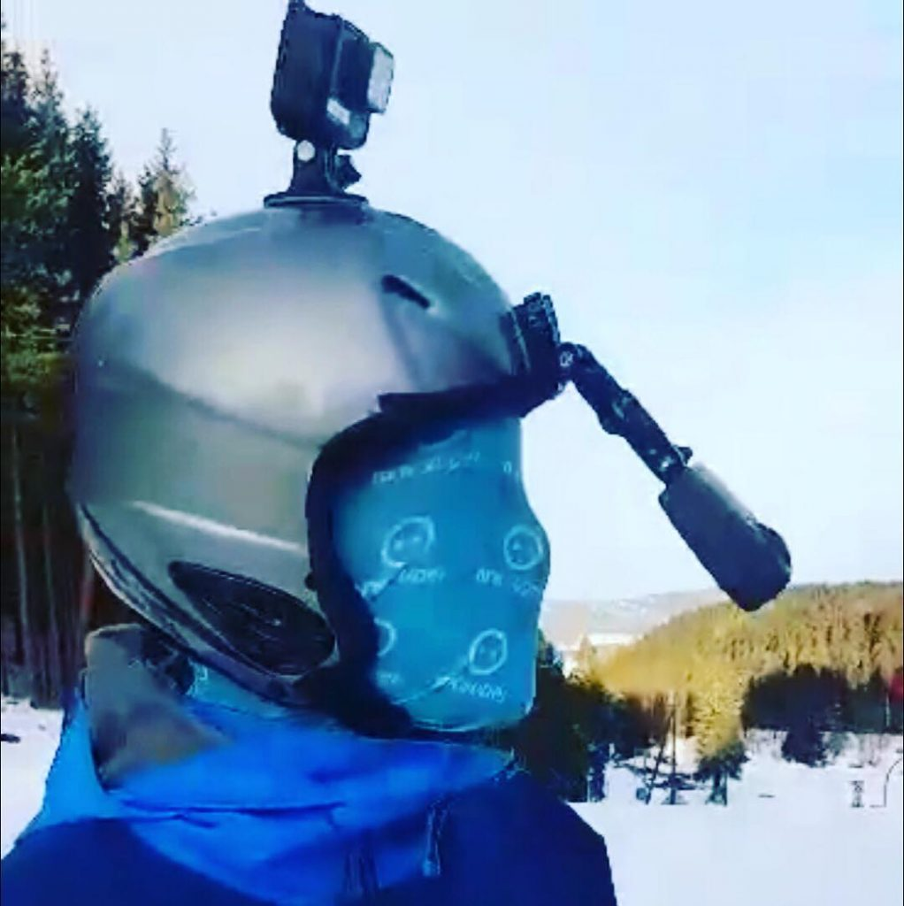 For the actual Sledge riding 360 film, Svend modified a GoPro arm to be extended so the camera would be further away from his face. He also covered his face with the buff (mask) so it would not distract the viewer and would also help to brand the piece with the NRK Super logo. (photo courtesy of Svend Even Hærra)