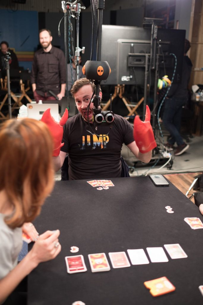 """POV storytelling is easier in VR180. Producer Robert Watts played our crab hands for the game """"You've Got Crabs"""" by Exploding Kittens."""