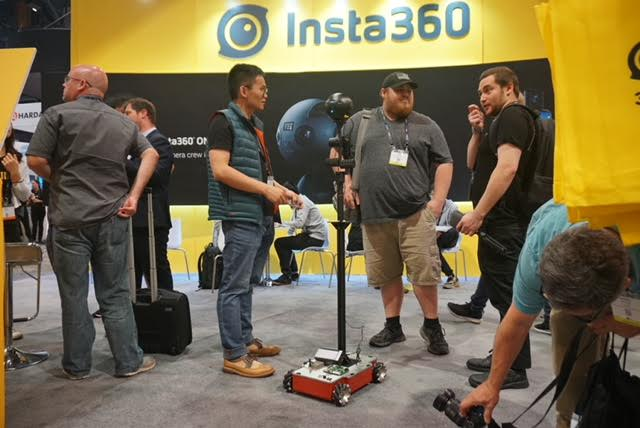 The Guru 360 rover visits Insta360's booth at NAB.