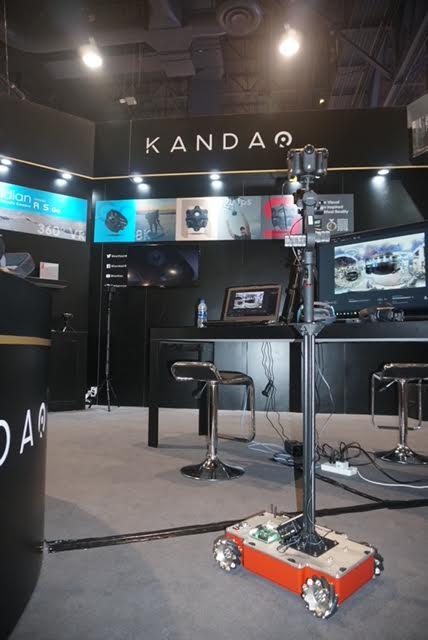 Gimbal Guru's Guru 360 rover visits Kandao's booth at NAB.