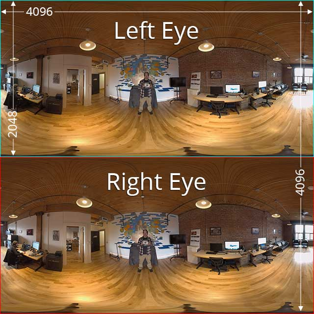 In this example frame, we see 2 independent stacked videos per each eye in the video container, for a 3D 360 video at 4096x4096 resolution.