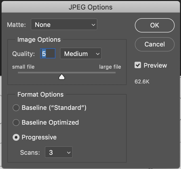 JPEG Options to change the file size of texture