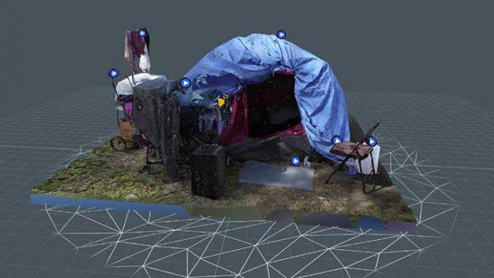 JOVRNALISM's photogrammetry-based, 3D tent inside Snapchat Lens Studio application.